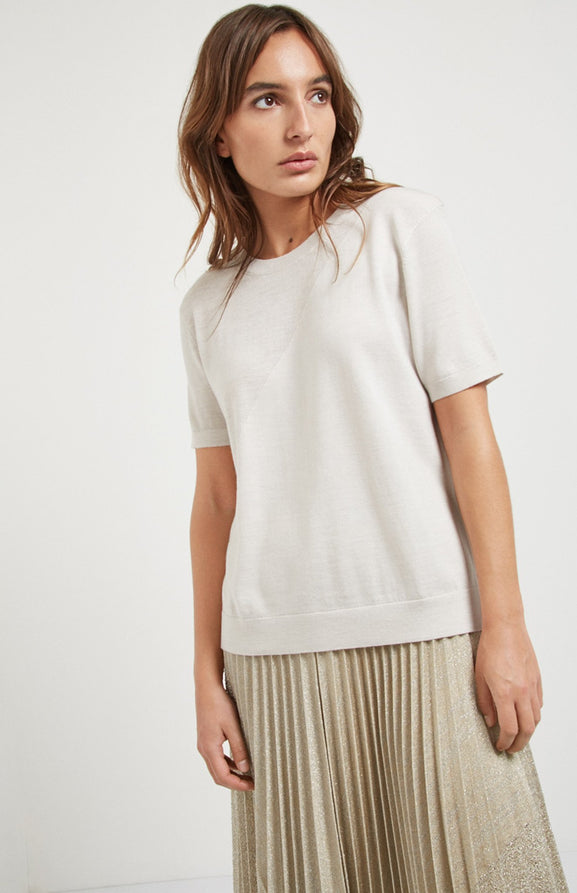 Textured Merino T Shirt In White