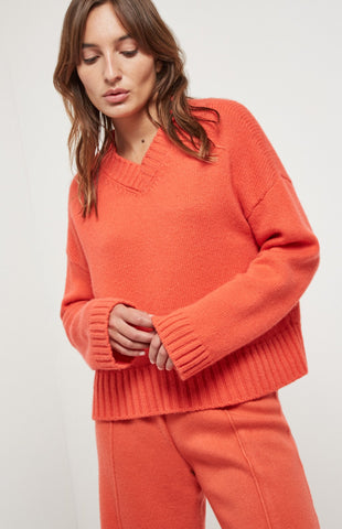 V Neck Cosy Cashmere Jumper  In Coral