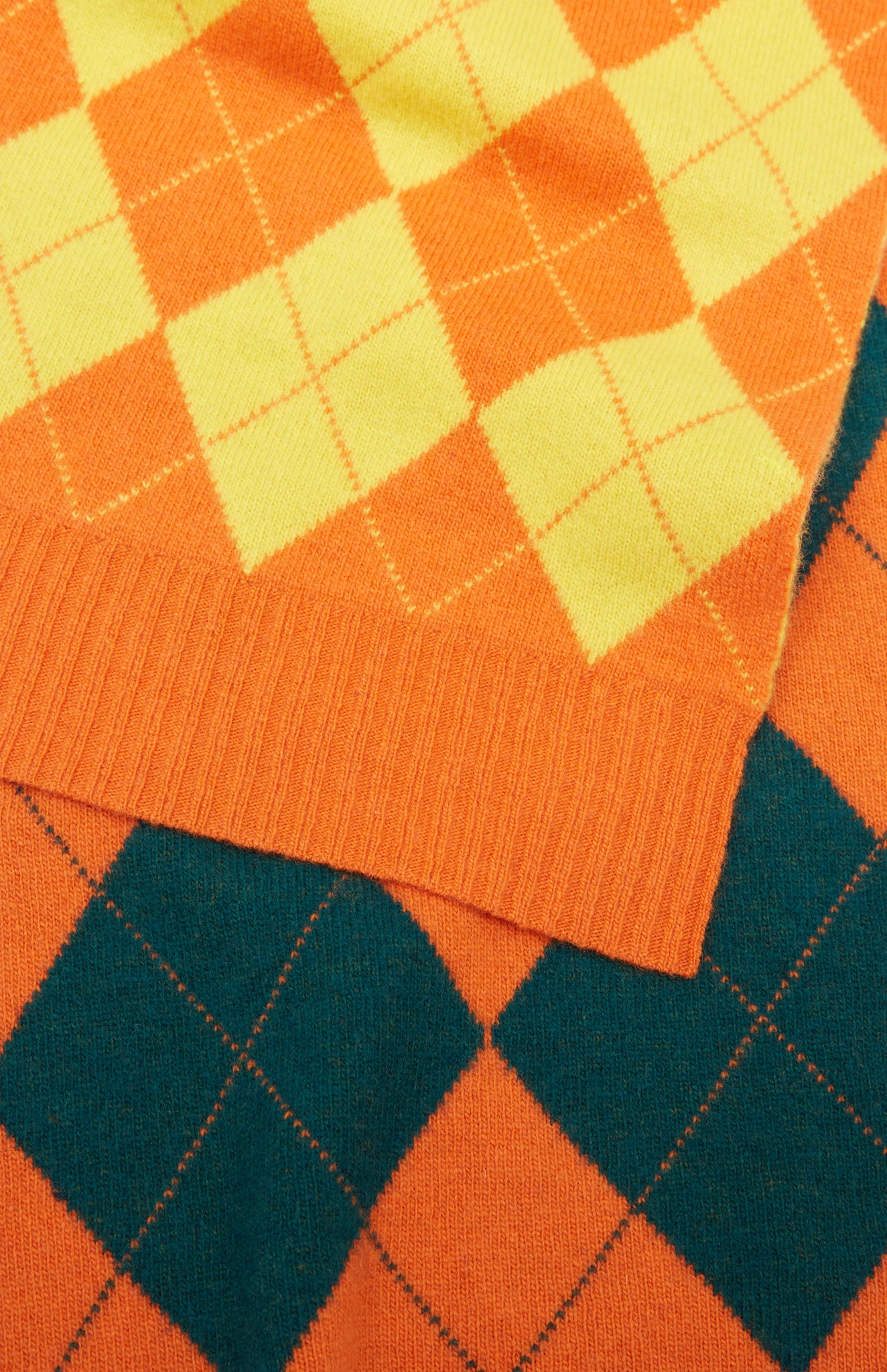 Pringle reissued Patched Argyle Scarf In Green/Orange