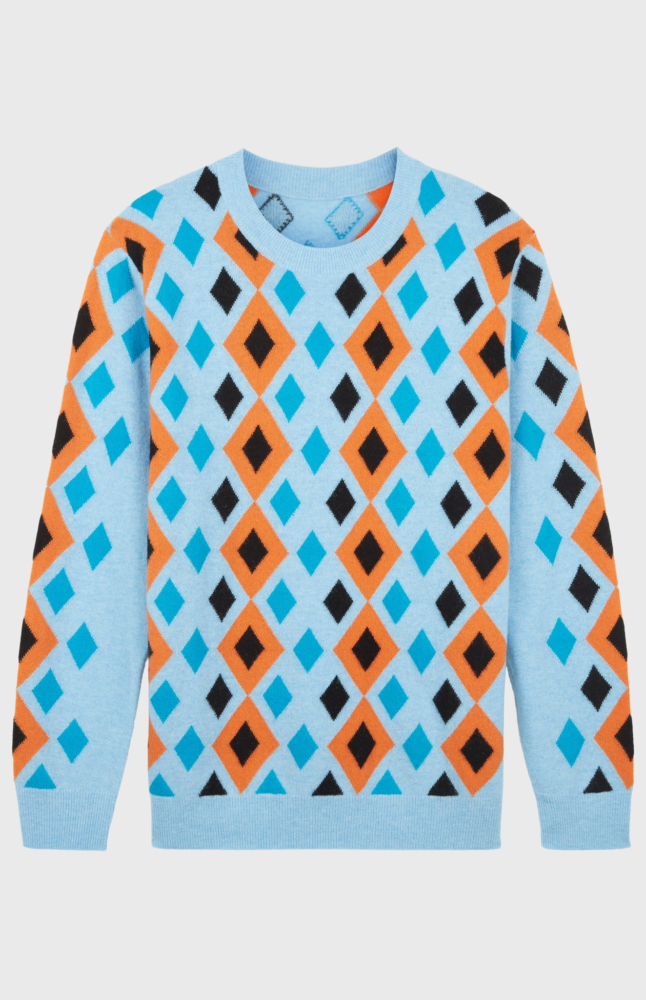 Pringle Reissued Unisex Multi Diamond Argyle Jumper In Light Blue