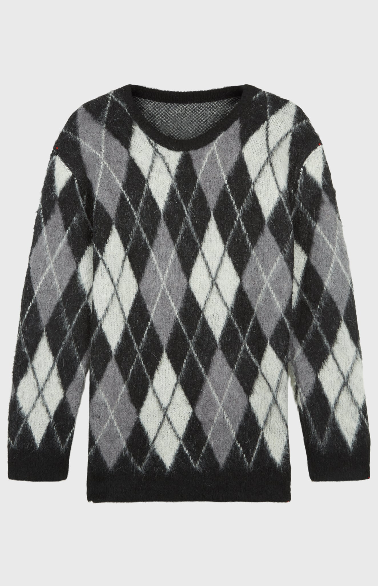 Pringle Reissued Unisex Monochrome Argyle Jumper in mohair
