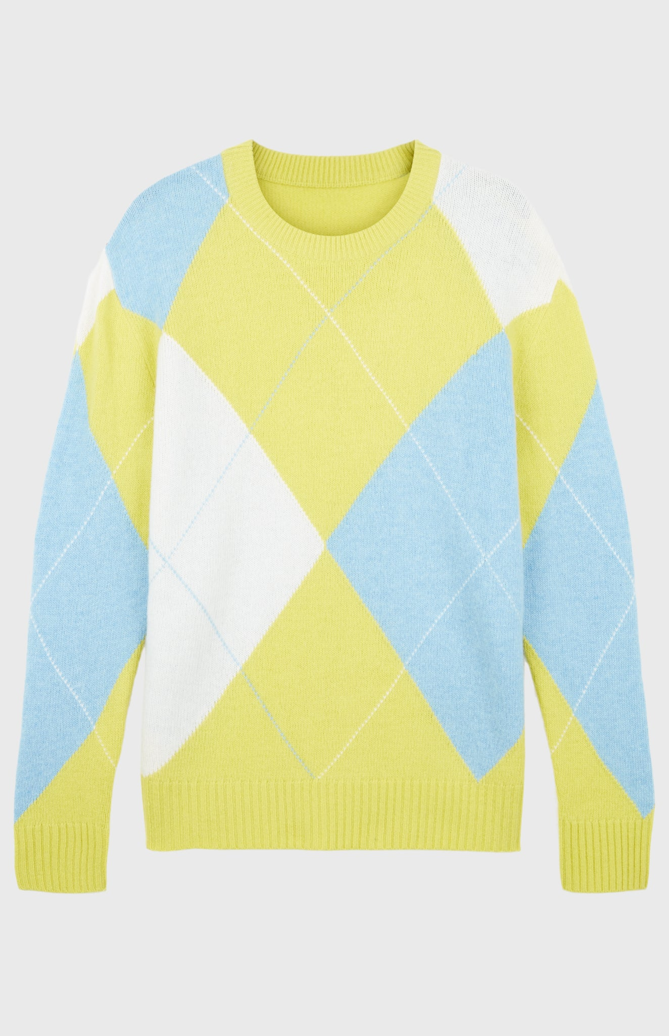 Pringle Reissued Unisex Grand Argyle Jumper In Lime