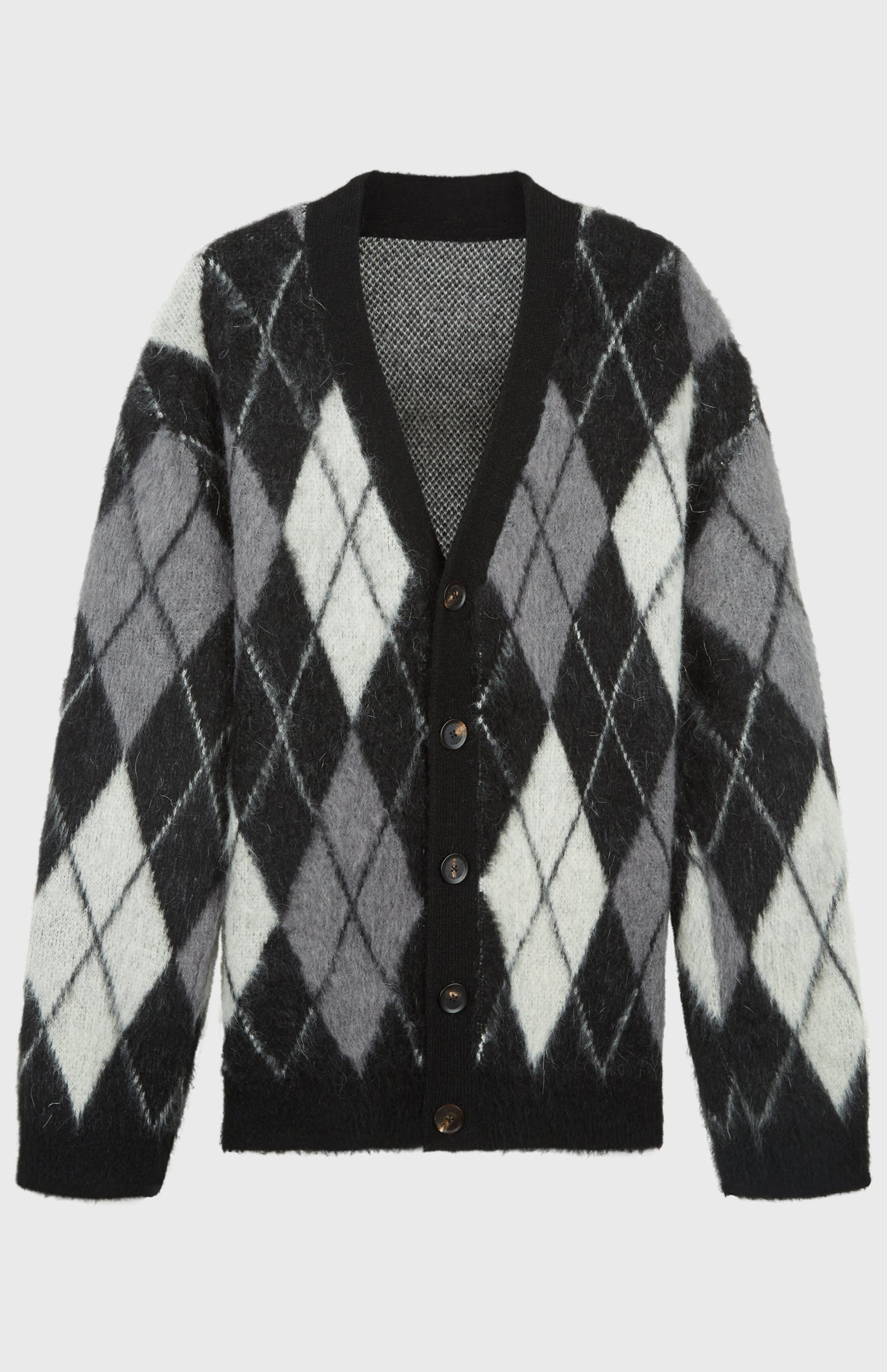 Pringle Reissued Unisex Monochrome Argyle Cardigan