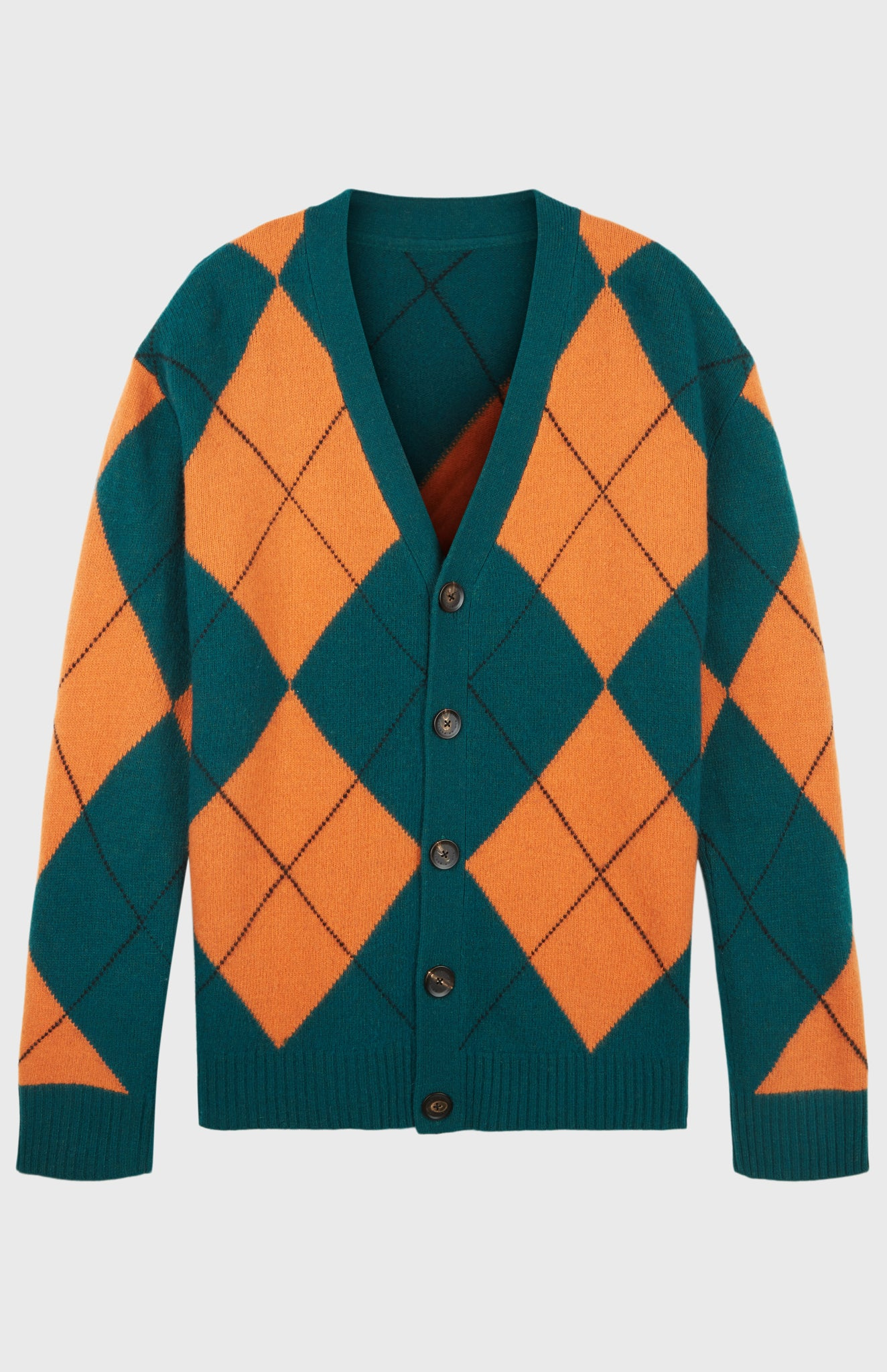 Pringle Reissued Unisex Two Tone Argyle Cardigan in orange and green