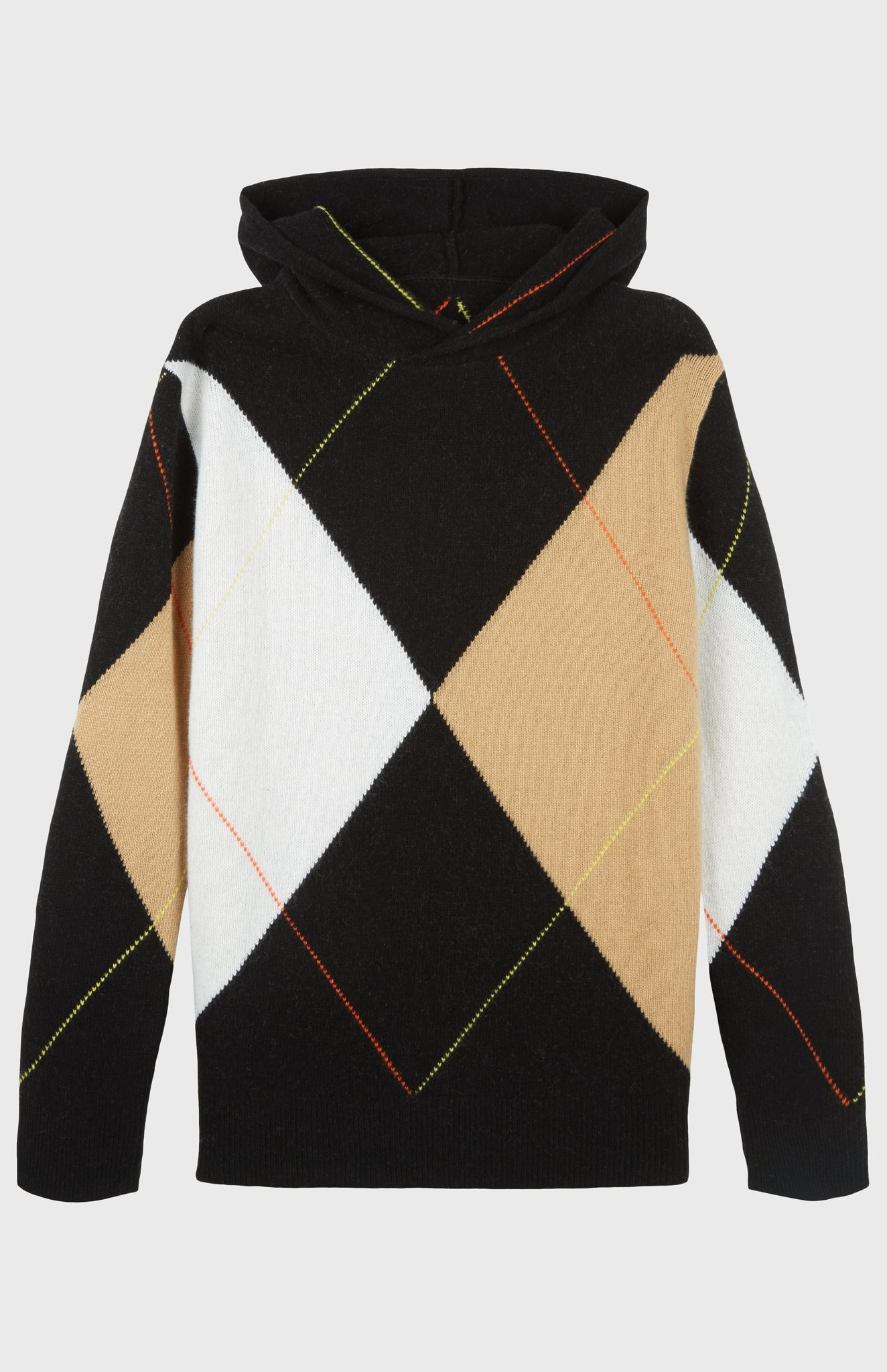 Pringle Reissued Unisex Grand Argyle Hoodie in Black, Camel and white