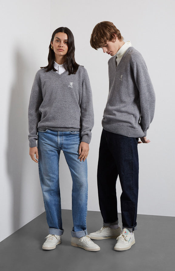 Archive Lambswool Jumper In Grey