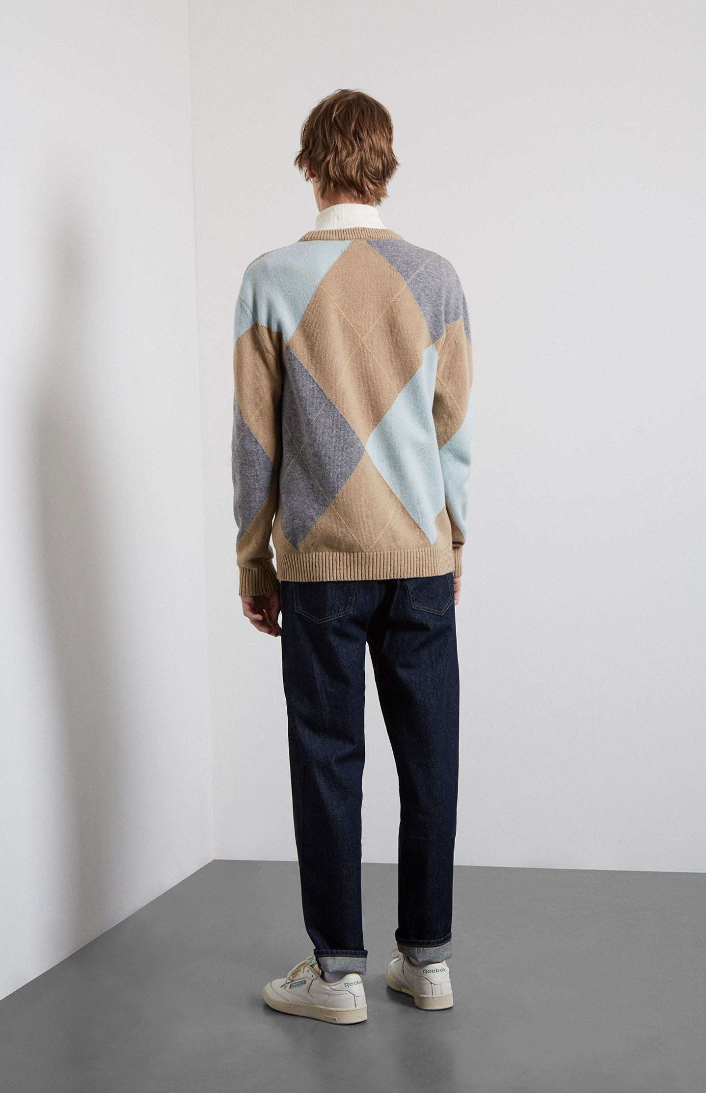 Argyle Lambswool Jumper In Camel