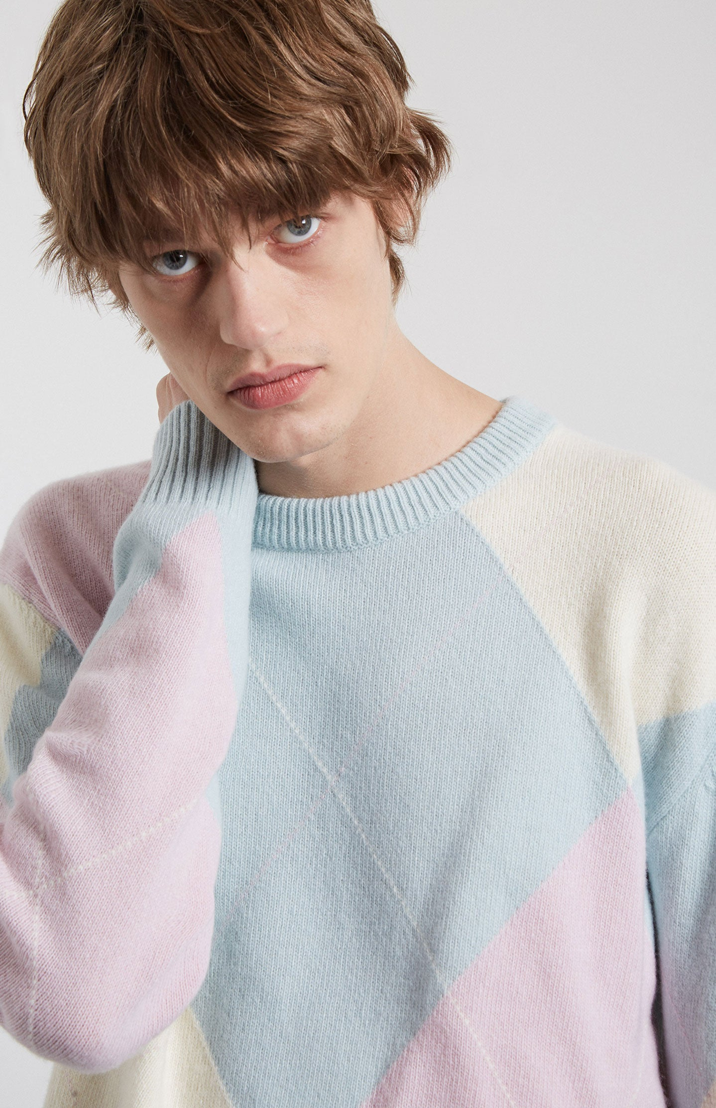 Argyle Lambswool Jumper in Pink