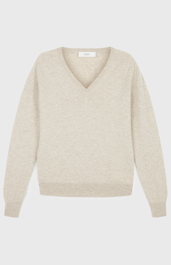 V Neck Cashmere Jumper In Light Beige Melange