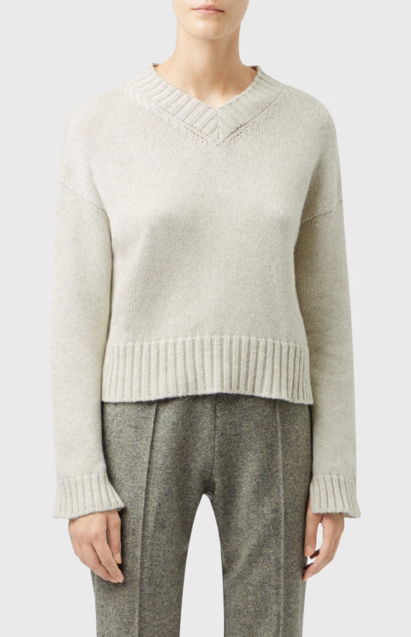 V Neck Cosy Cashmere Jumper In Oatmeal