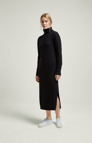Roll Neck Cashmere Dress In Black
