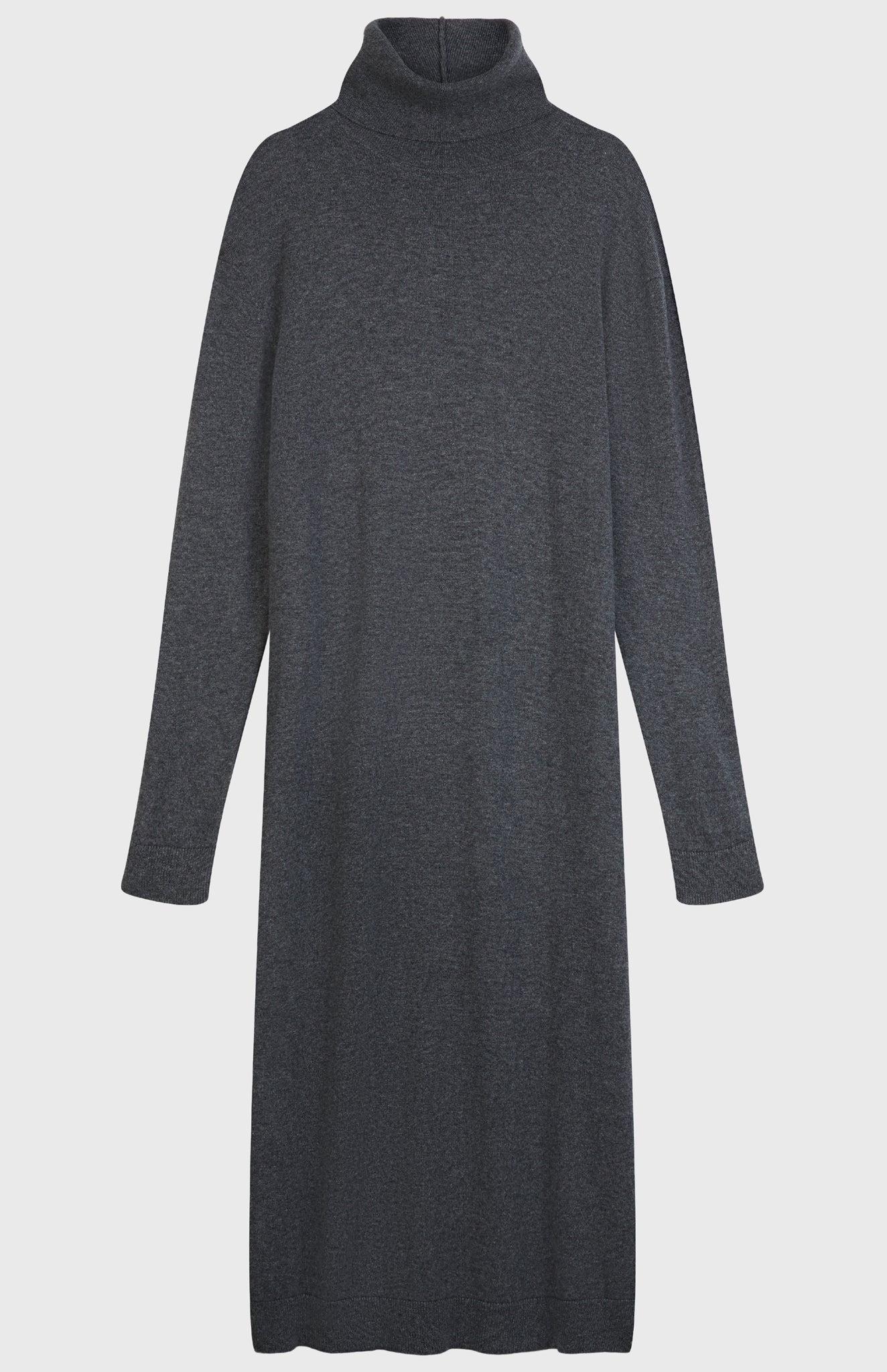 Roll Neck Cashmere Dress In Derby Grey