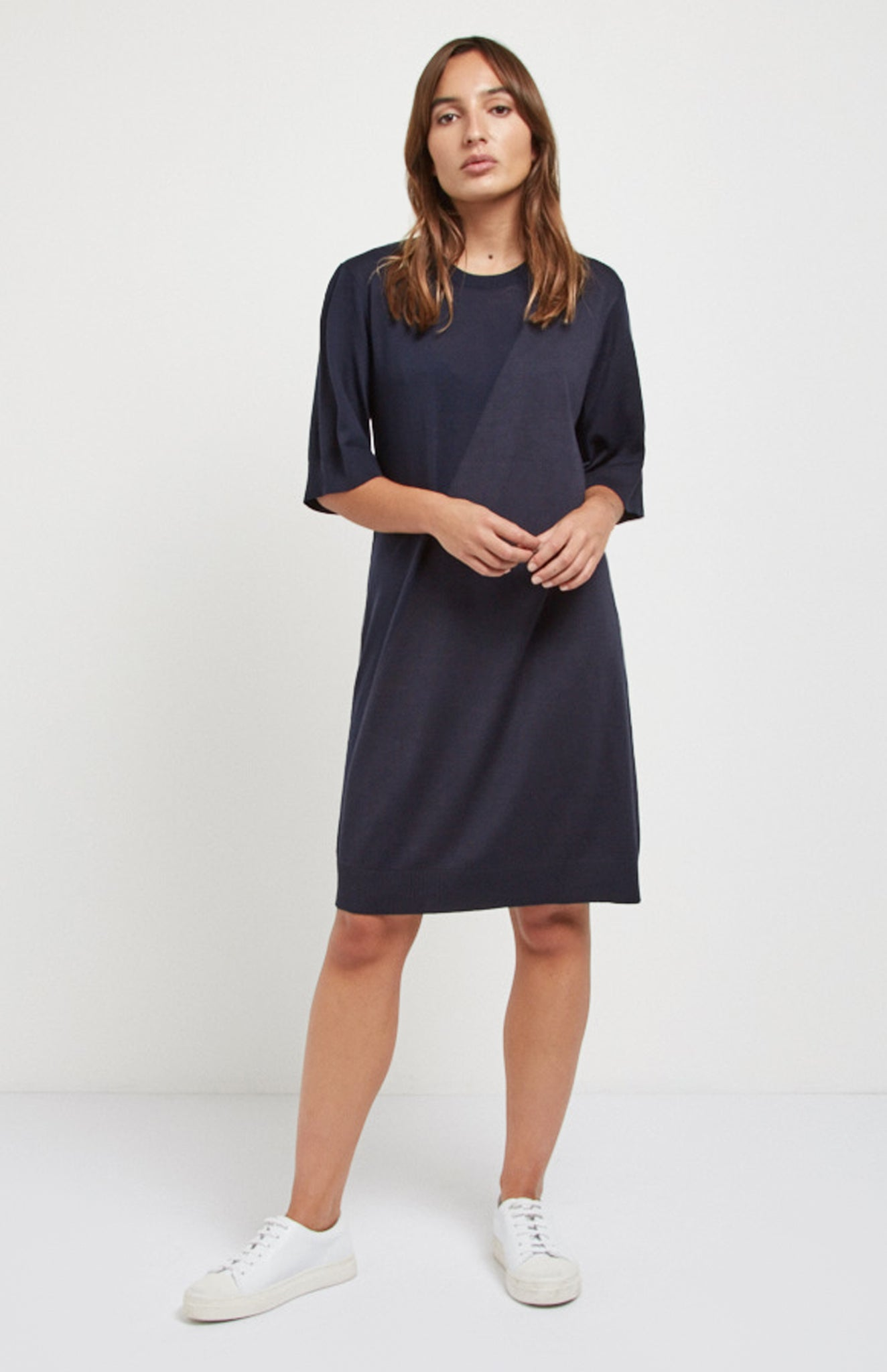 Merino Silk T-shirt Dress In Midnight
