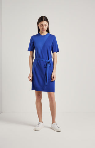 Textured Merino T-shirt Dress In Blue
