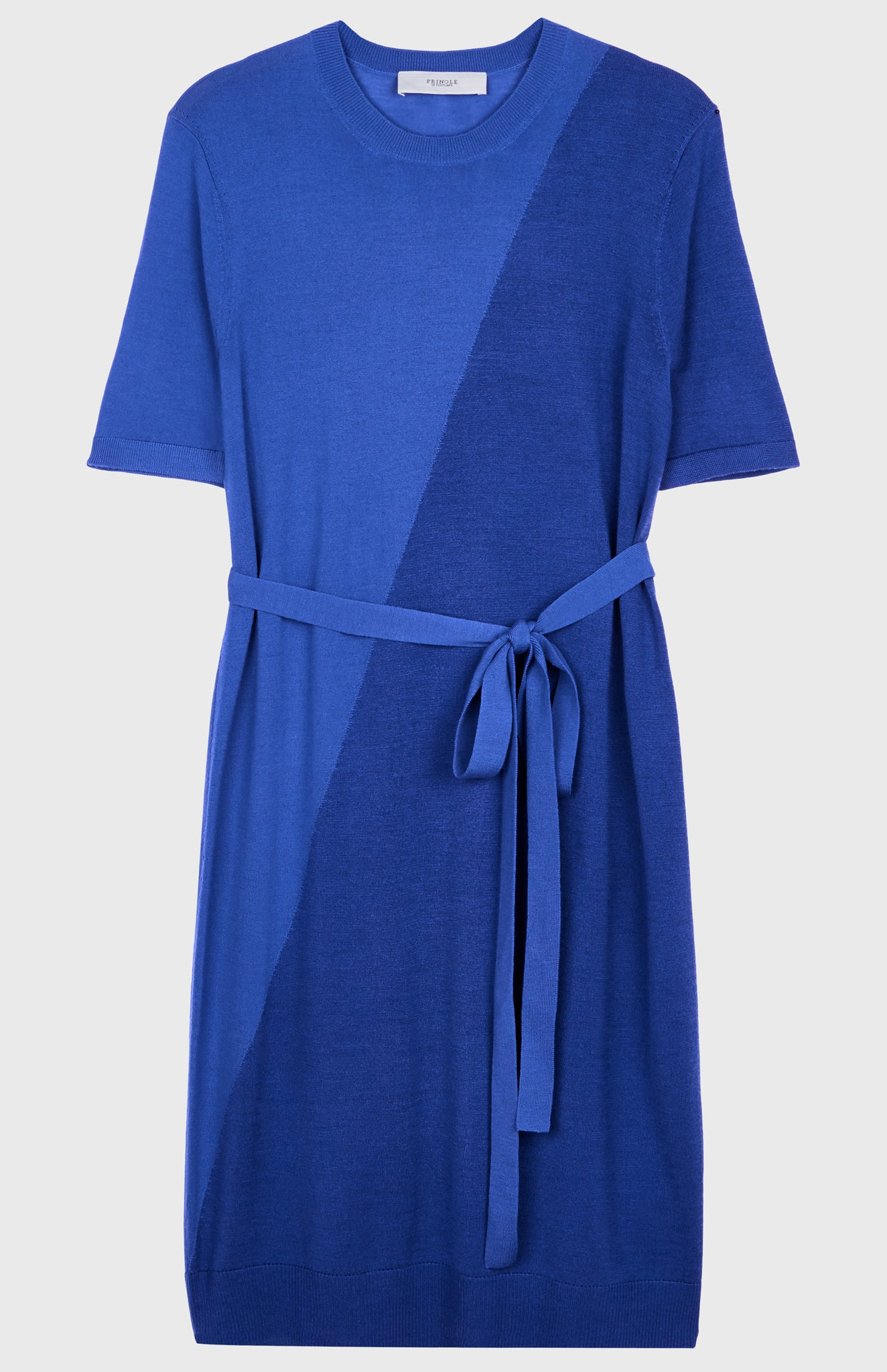 Merino Silk T-shirt Dress In Bright Blue