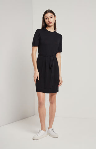 Merino T-shirt Dress In Black