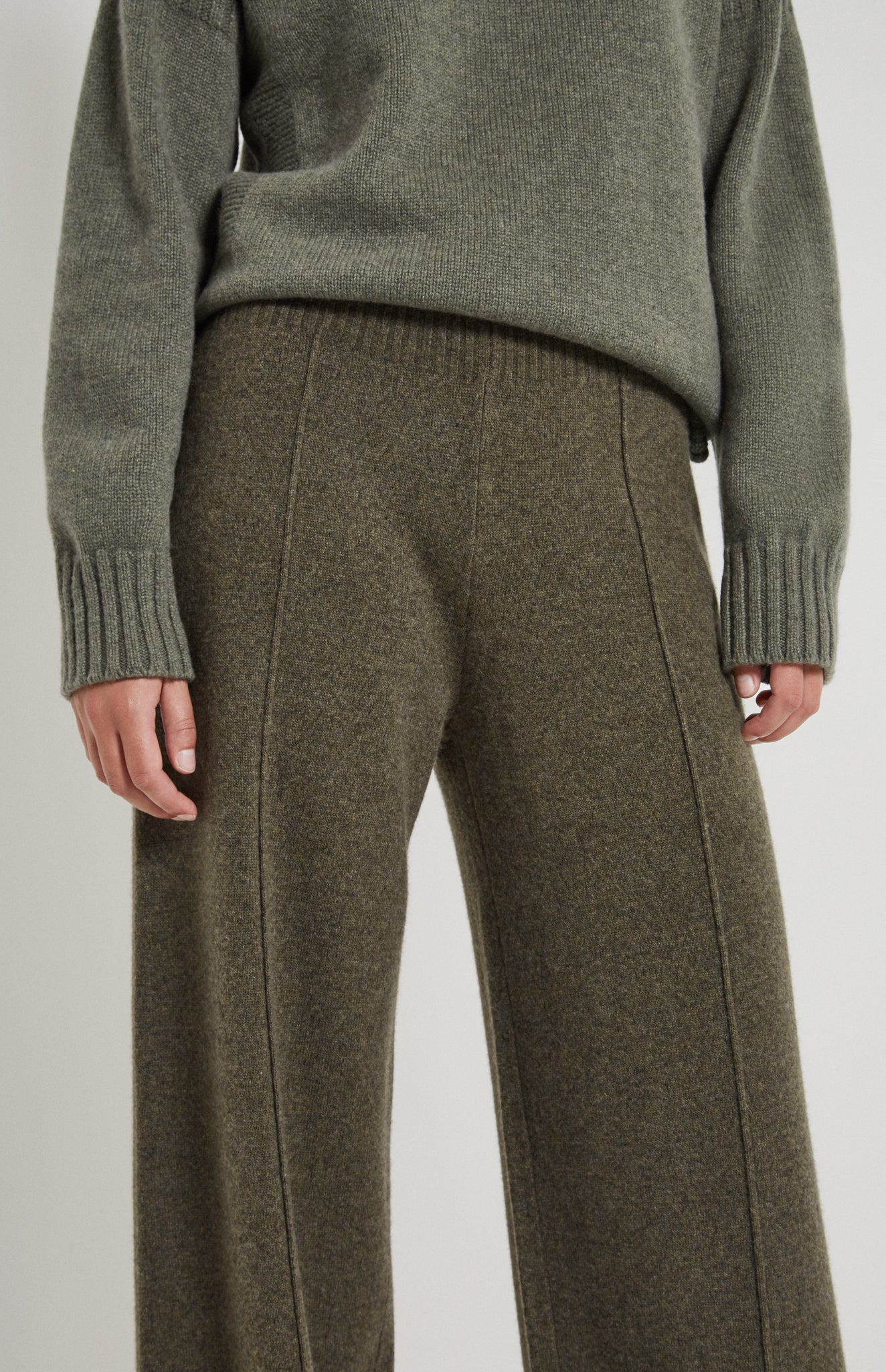Knitted Wide Leg Trousers In Moss