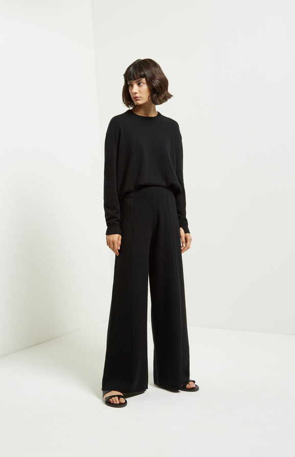 Knitted Wide Leg Trousers In Black