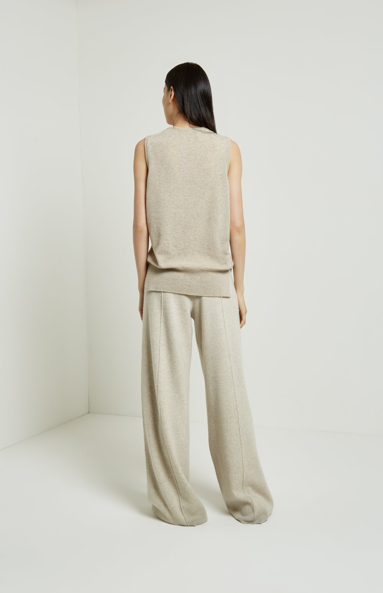 Knitted Wide Leg Trousers In Oatmeal