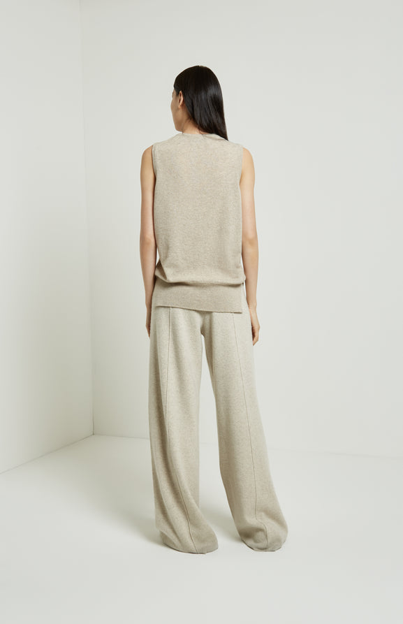 Cashmere Blend Knitted Wide Leg Trousers In Oatmeal