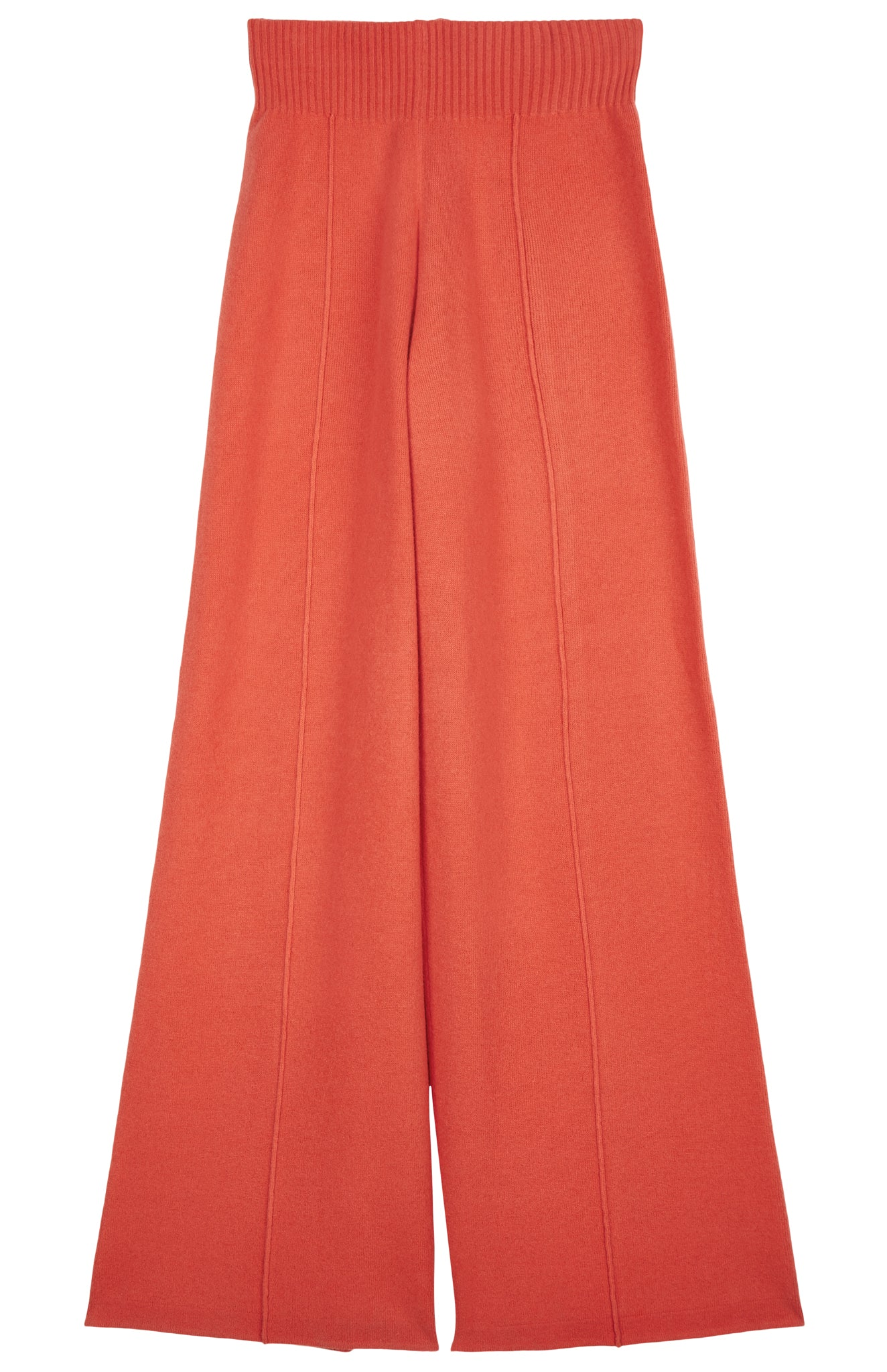 Knitted Wide Leg Trousers In Coral