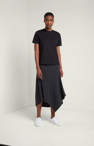 Travelling Rib Maxi Skirt In Charcoal