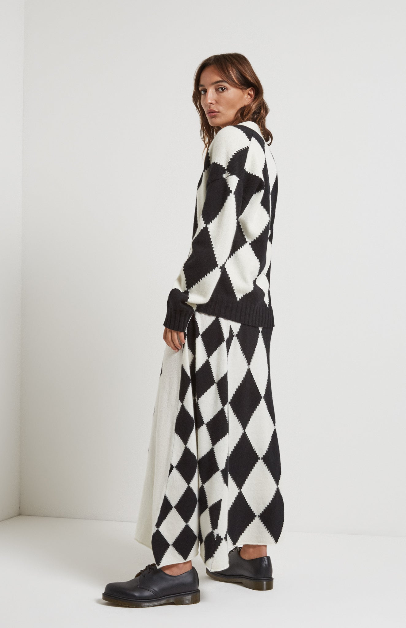 Graphic Argyle Panel Skirt In Black/Cream