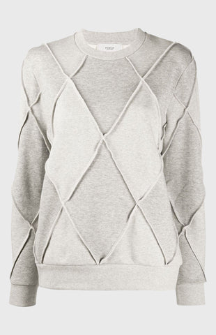 Fleece Back Diamond Sweatshirt In Grey Marl