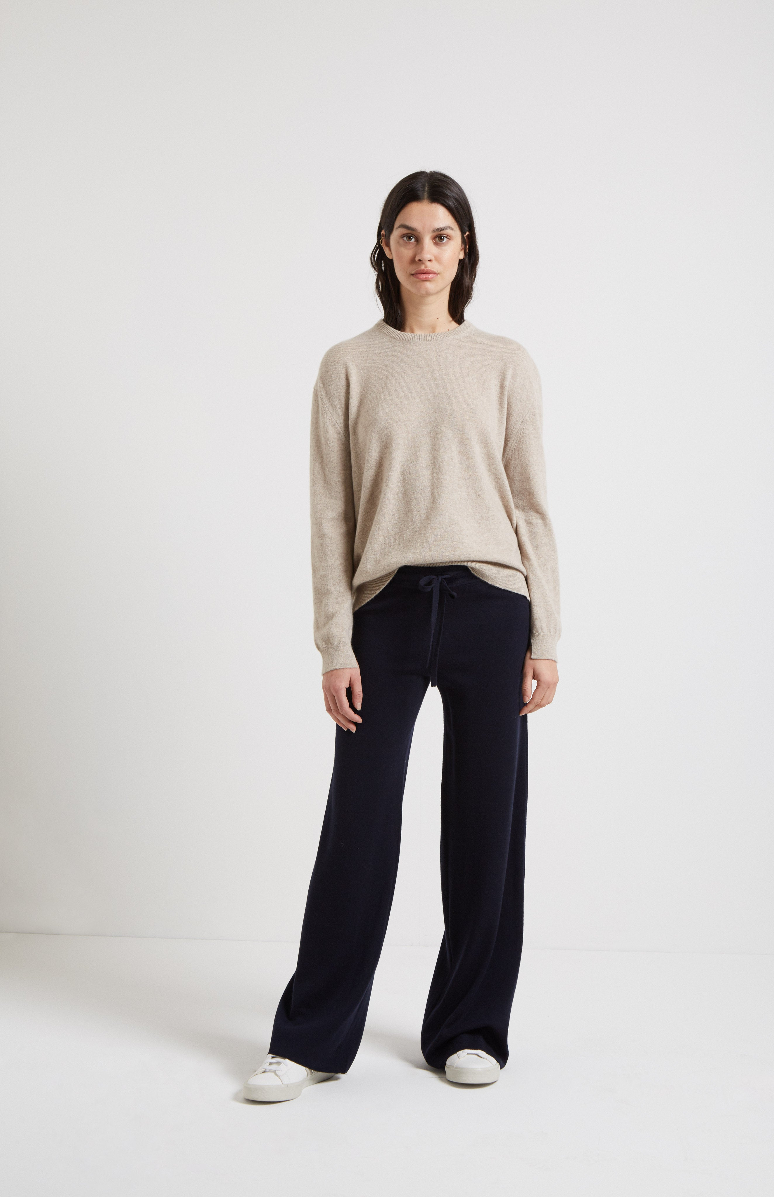 Drawstring Merino Trousers In Navy