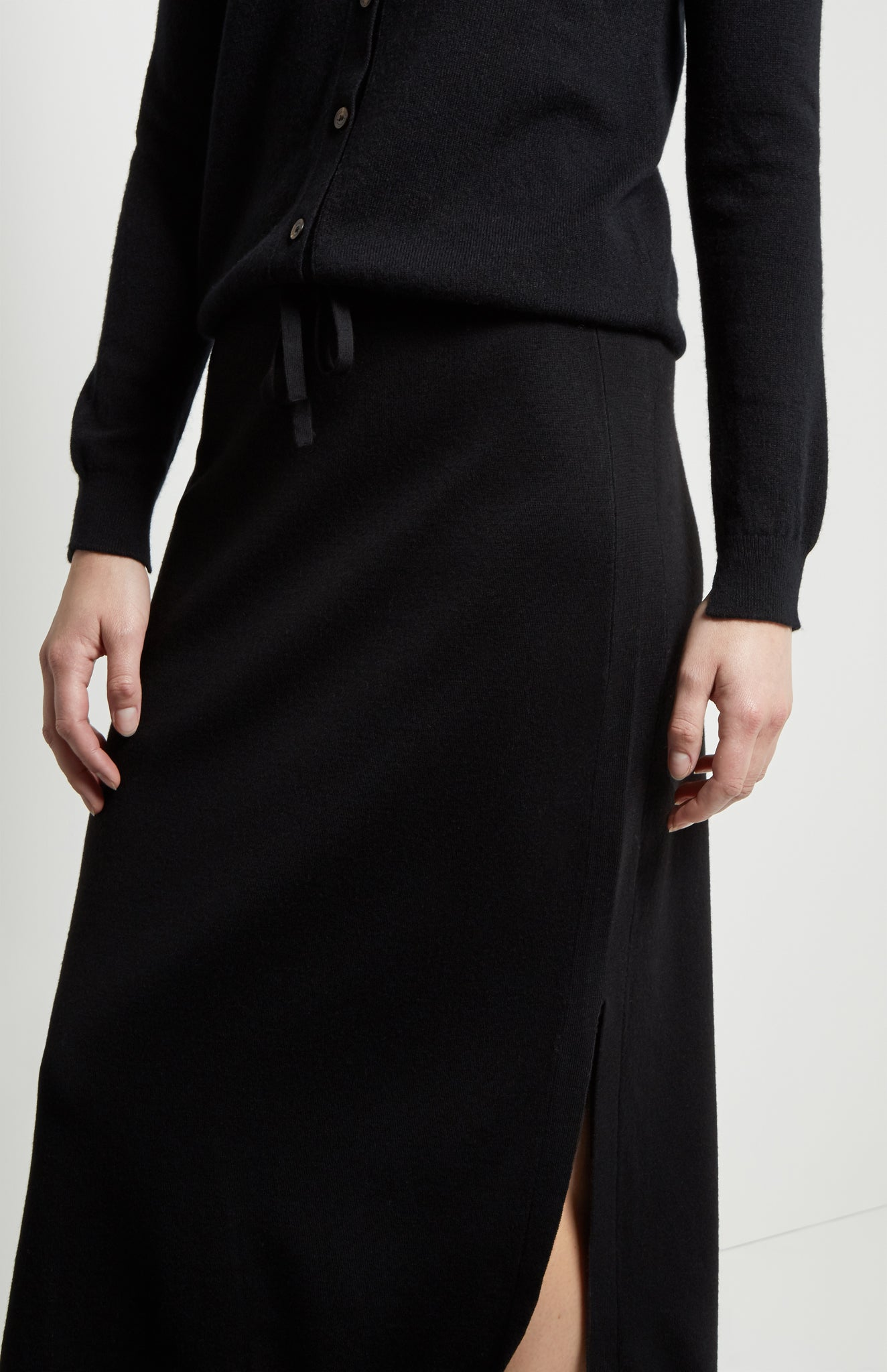 Long Merino Skirt in Black