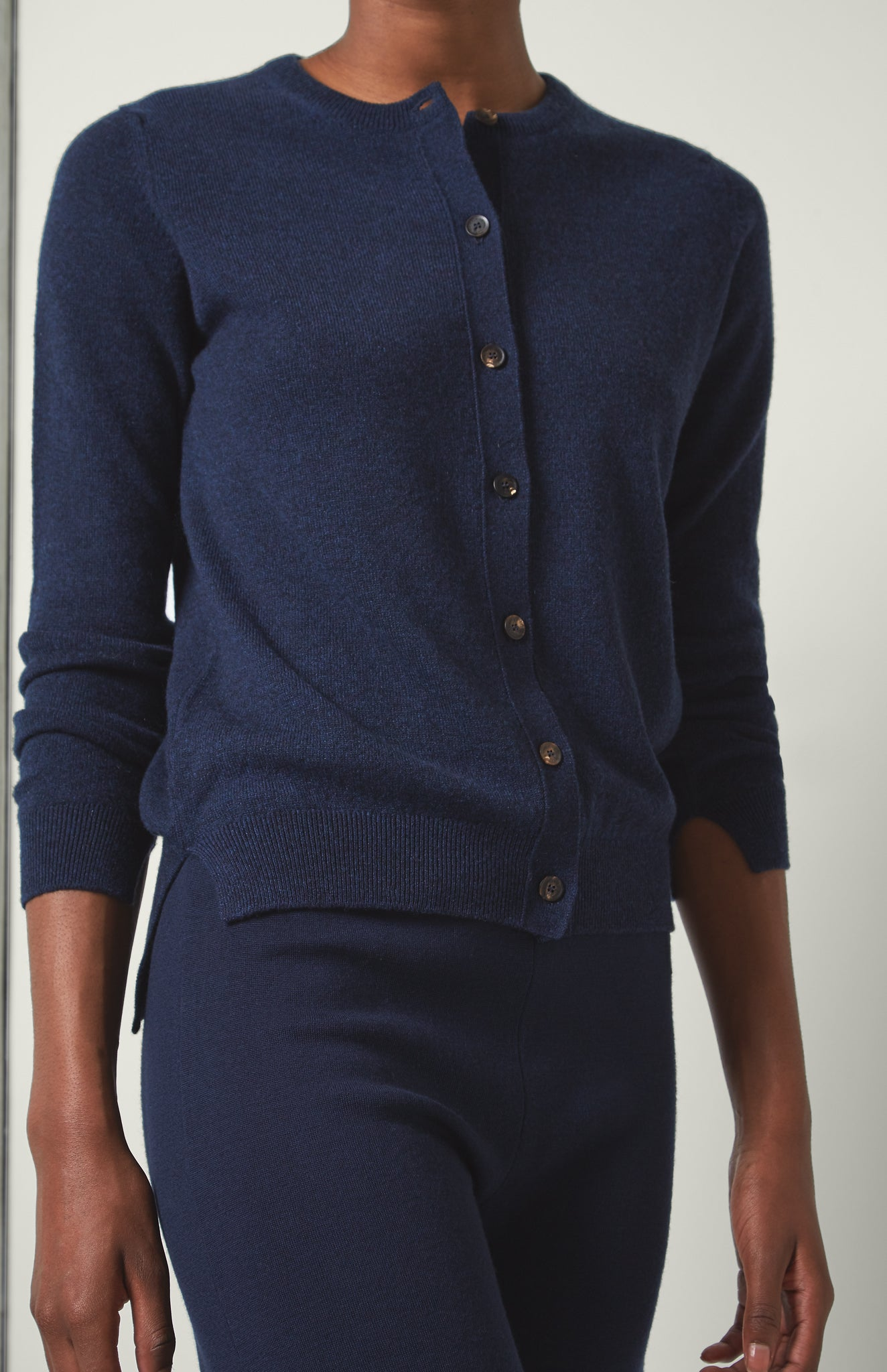Classic Cashmere Cardigan In Inkwell