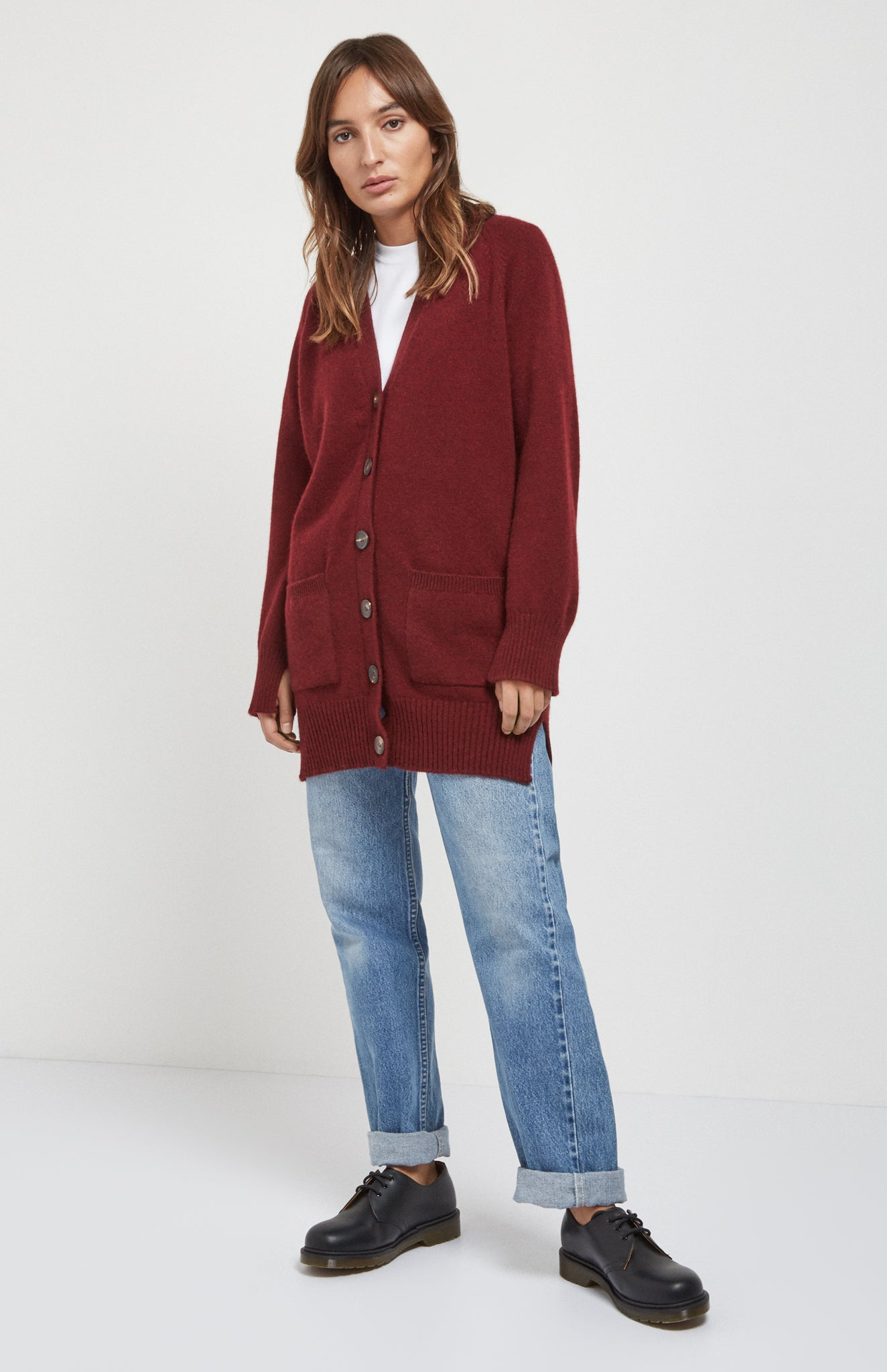 Cosy Cashmere Cardigan In Burgundy