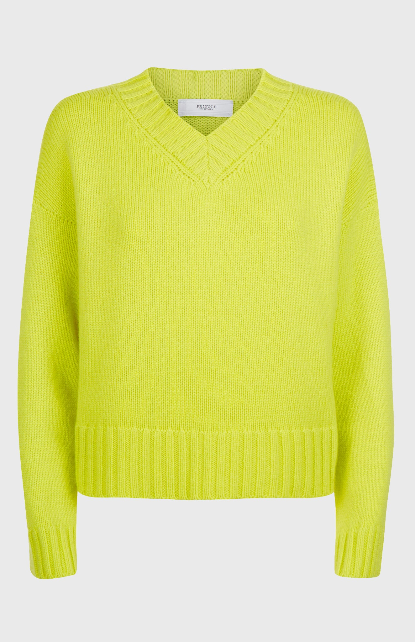 V Neck Cosy Cashmere Jumper In Lime