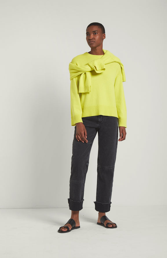 Round Neck Cosy Cashmere Jumper In Lime