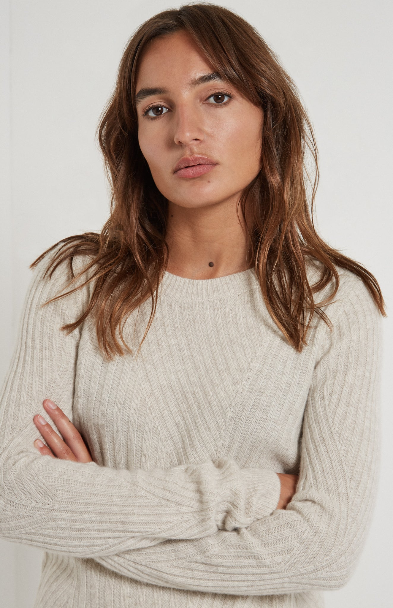 Fitted Travelling Rib Jumper In Oatmeal