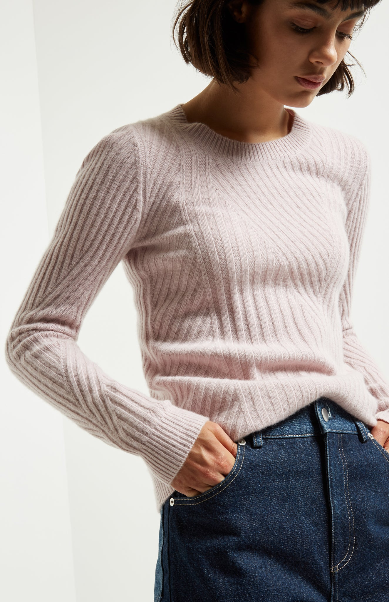 Fitted Travelling Rib Jumper In Powder Pink