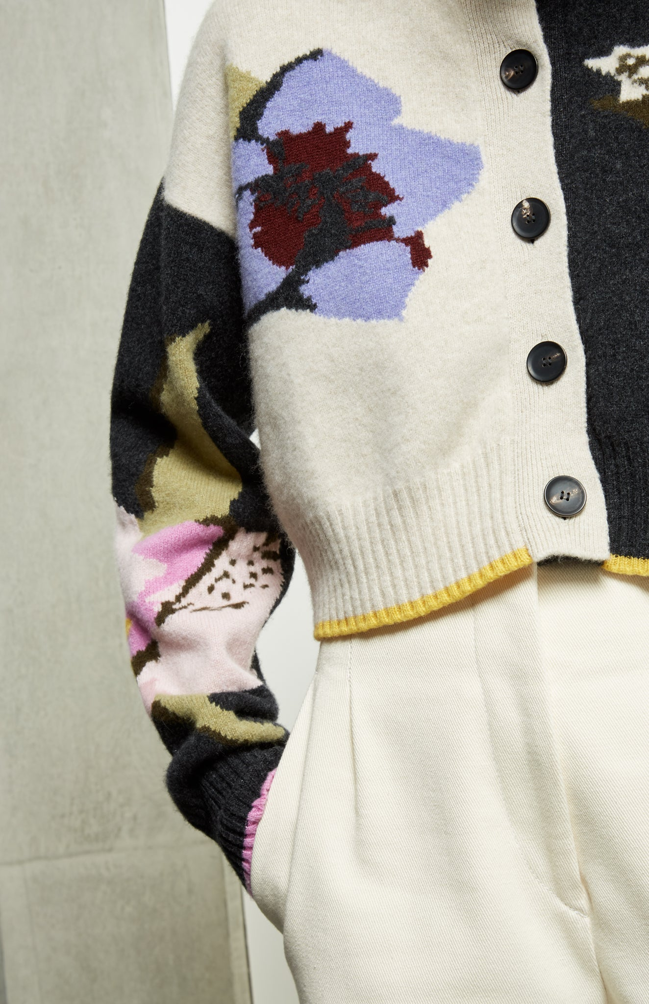 Cropped Floral Lambswool Cardigan In Floral Multi