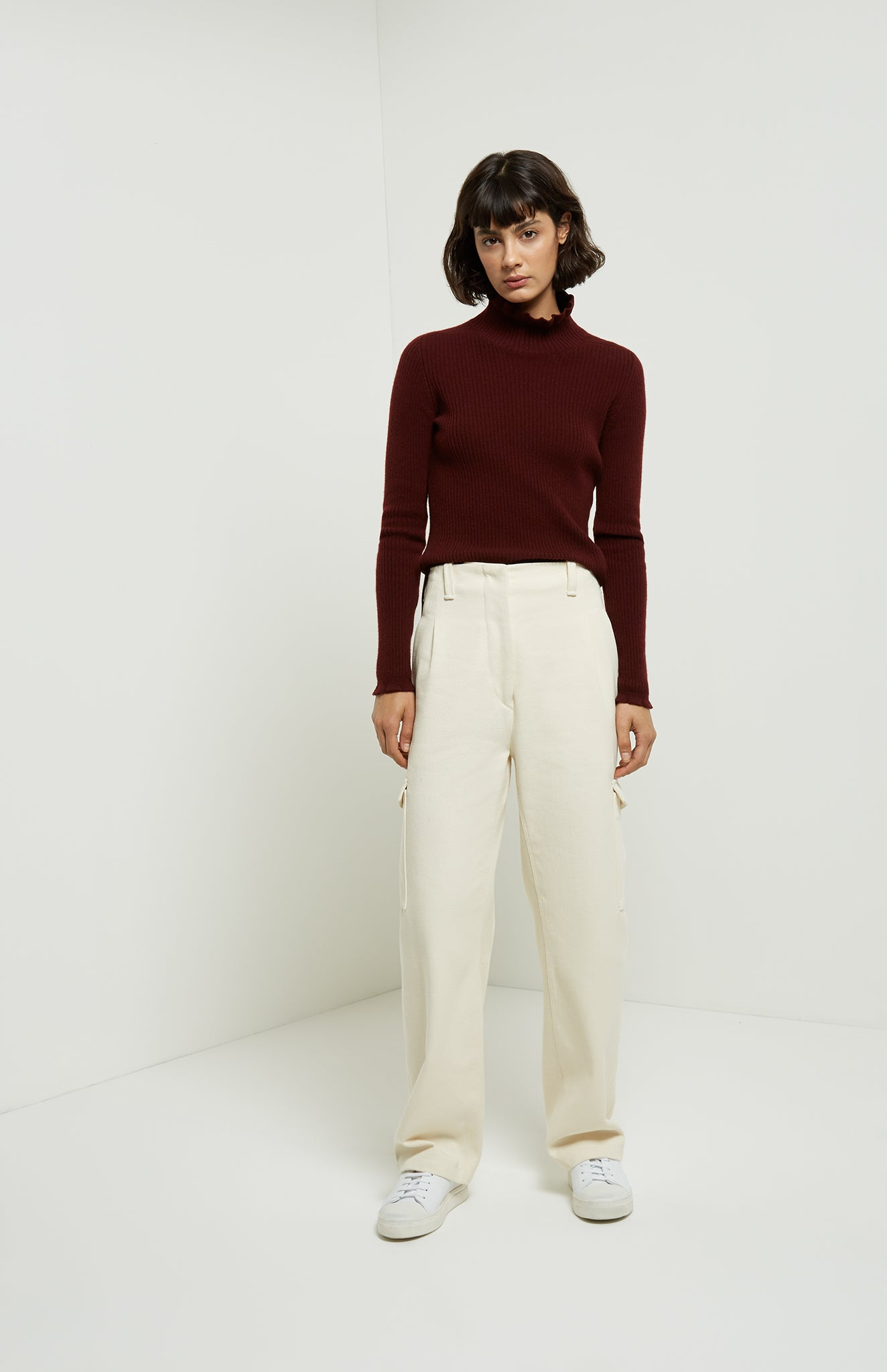 Frill Roll Neck Jumper In Burgundy