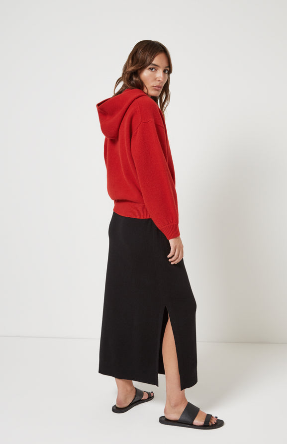 Volume Sleeve Cashmere Hoodie In Red