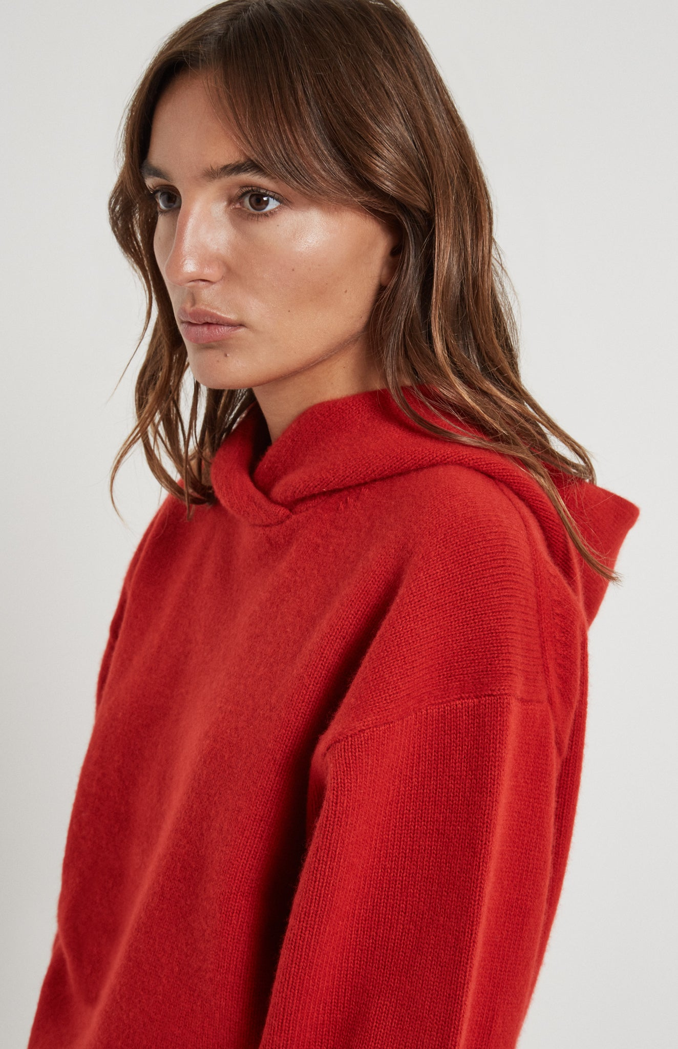 Cashmere Hoodie In Red