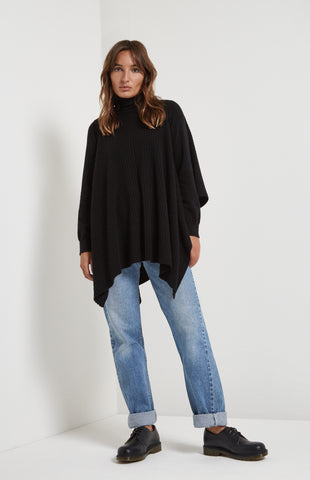 Roll Neck Blanket Jumper In Black