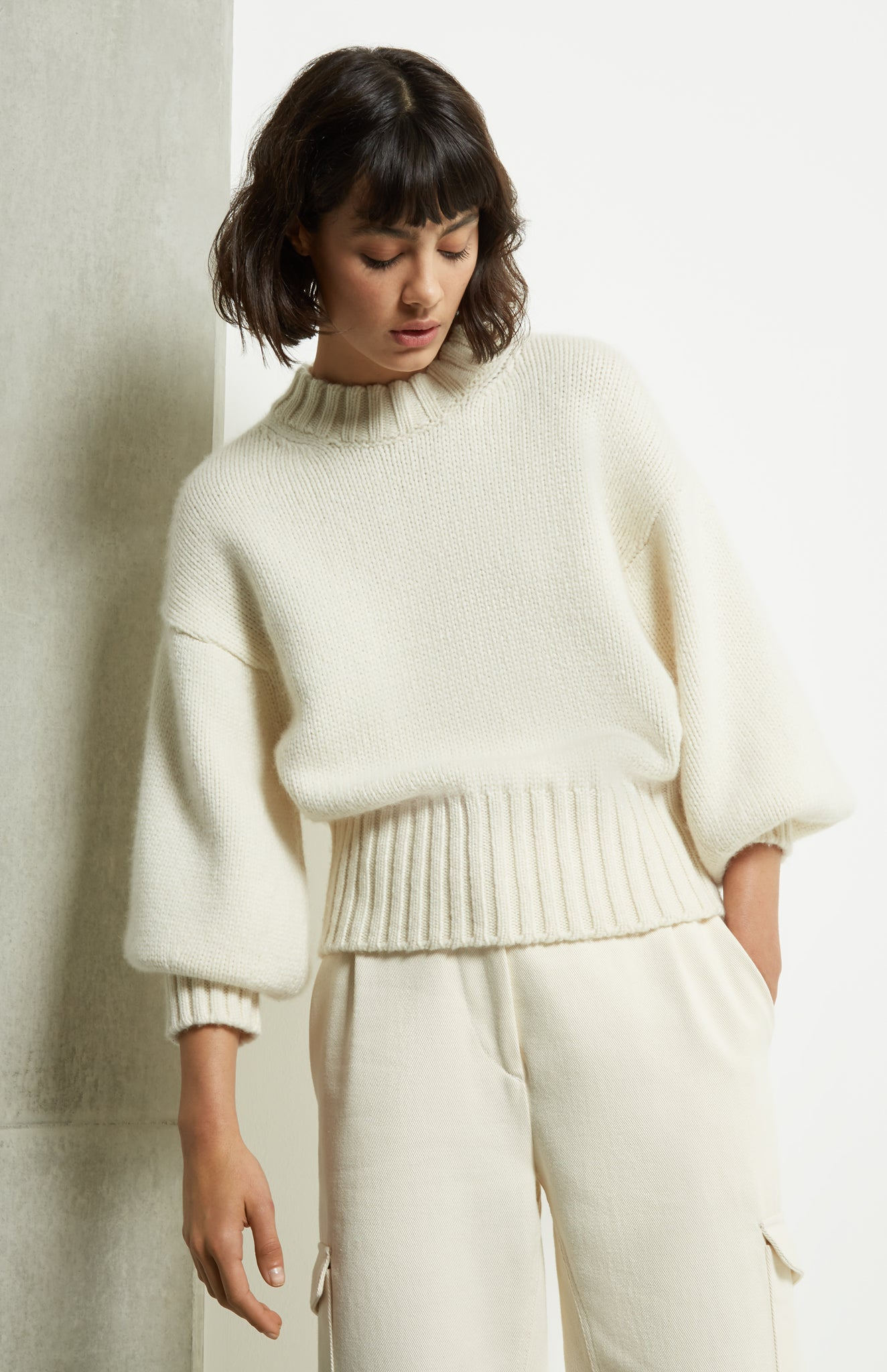 Air Spun Cashmere Jumper In Cream