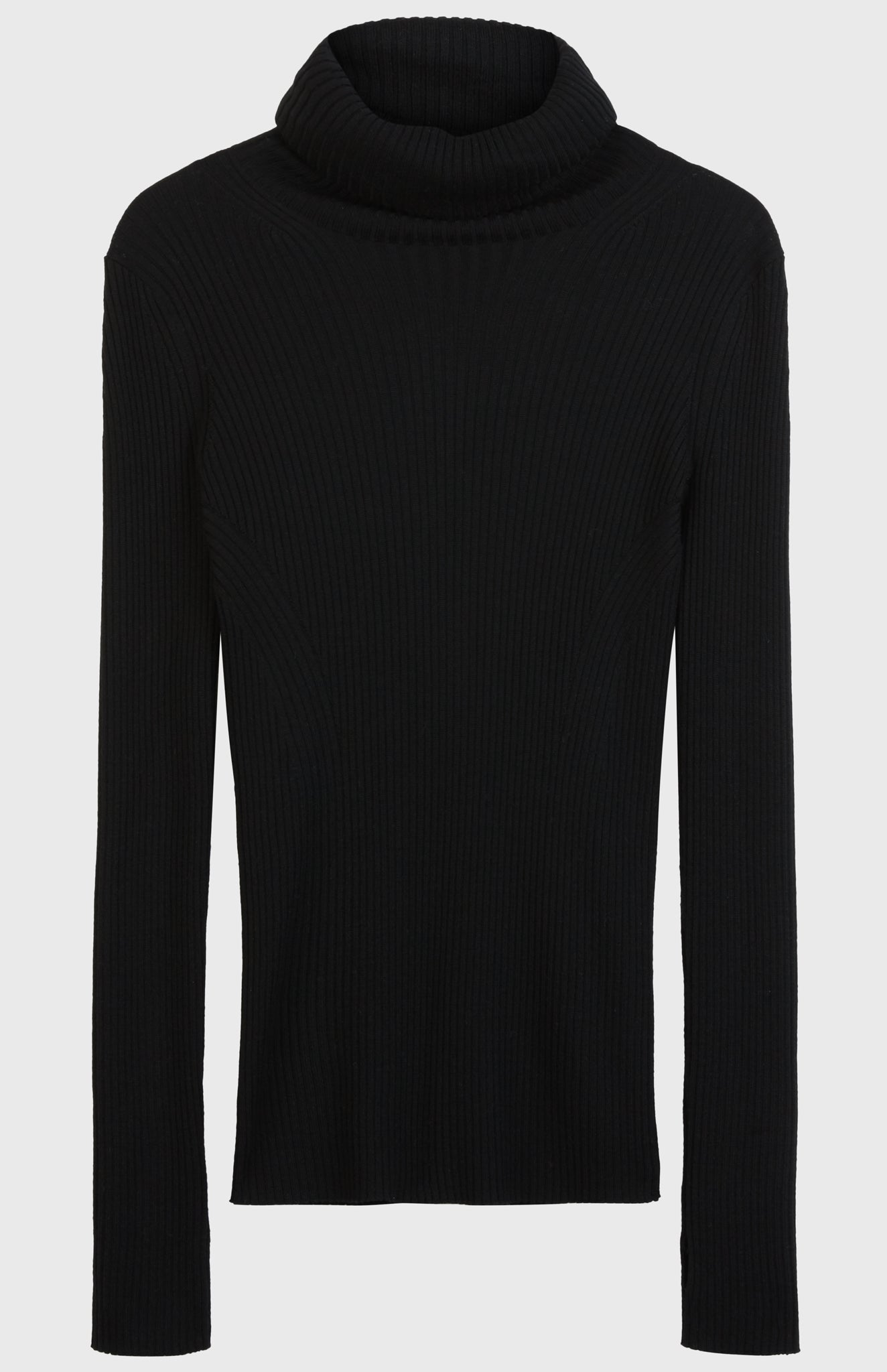 Slim Fit Merino Jumper In Black