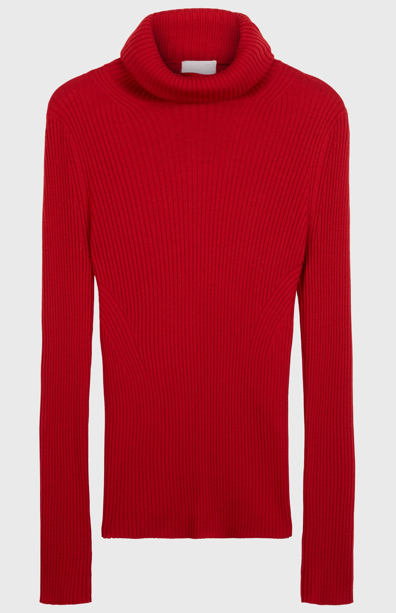 Roll Neck Slim Fit Jumper In Dark Red