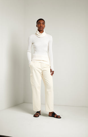 Roll Neck Slim Fit Jumper In Cream