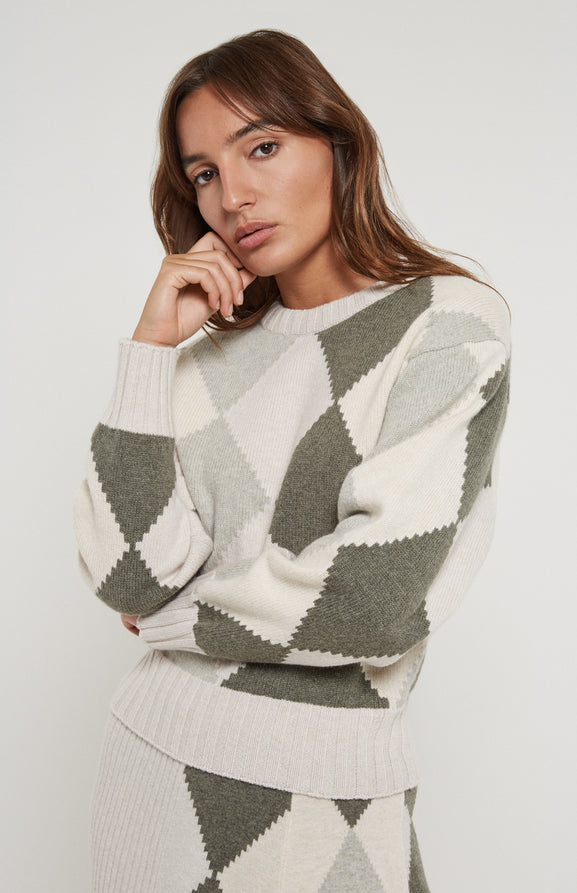 Graphic Argyle Jumper In Moss