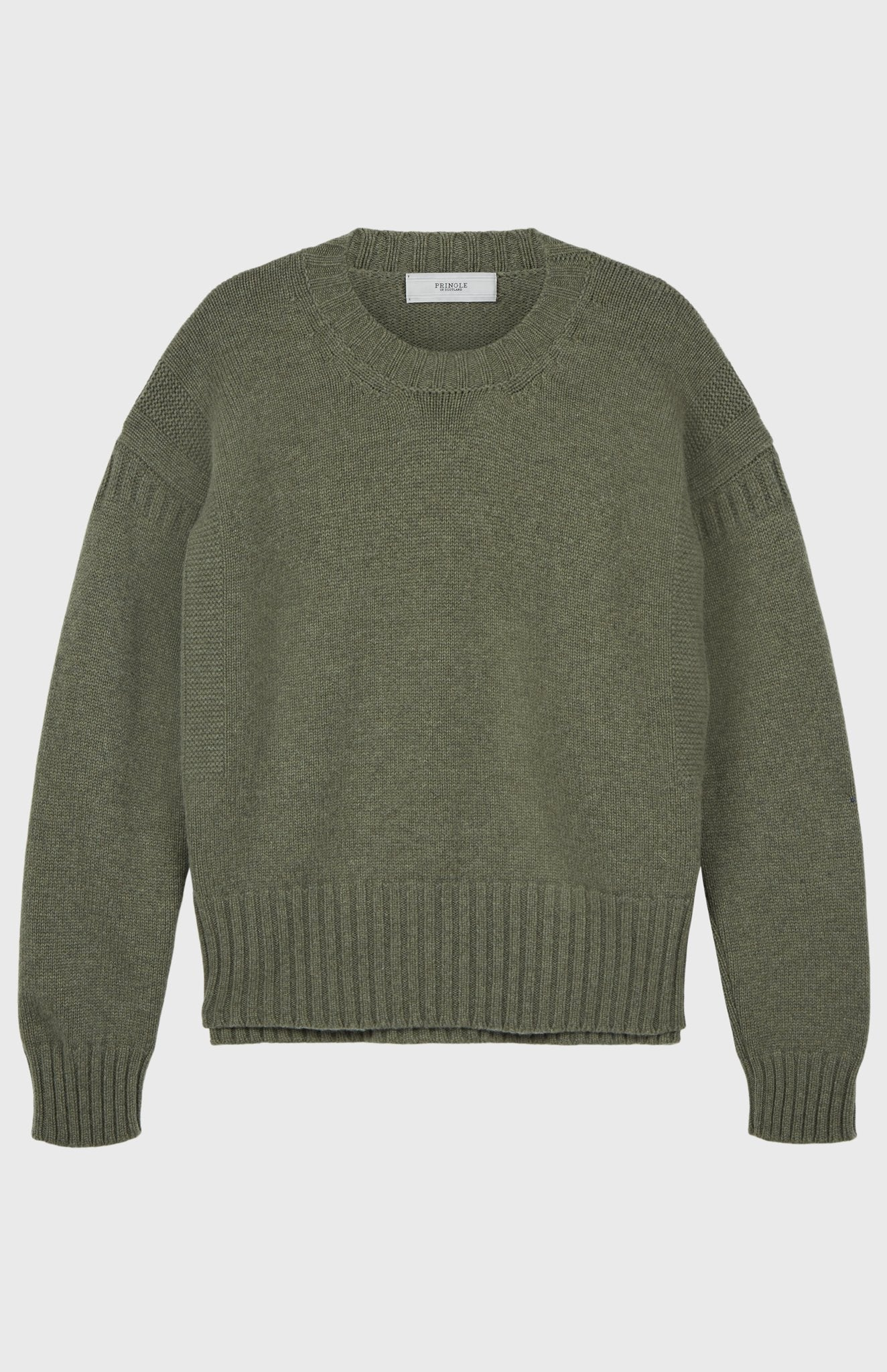Guernsey Stitch Round Neck Jumper in Moss