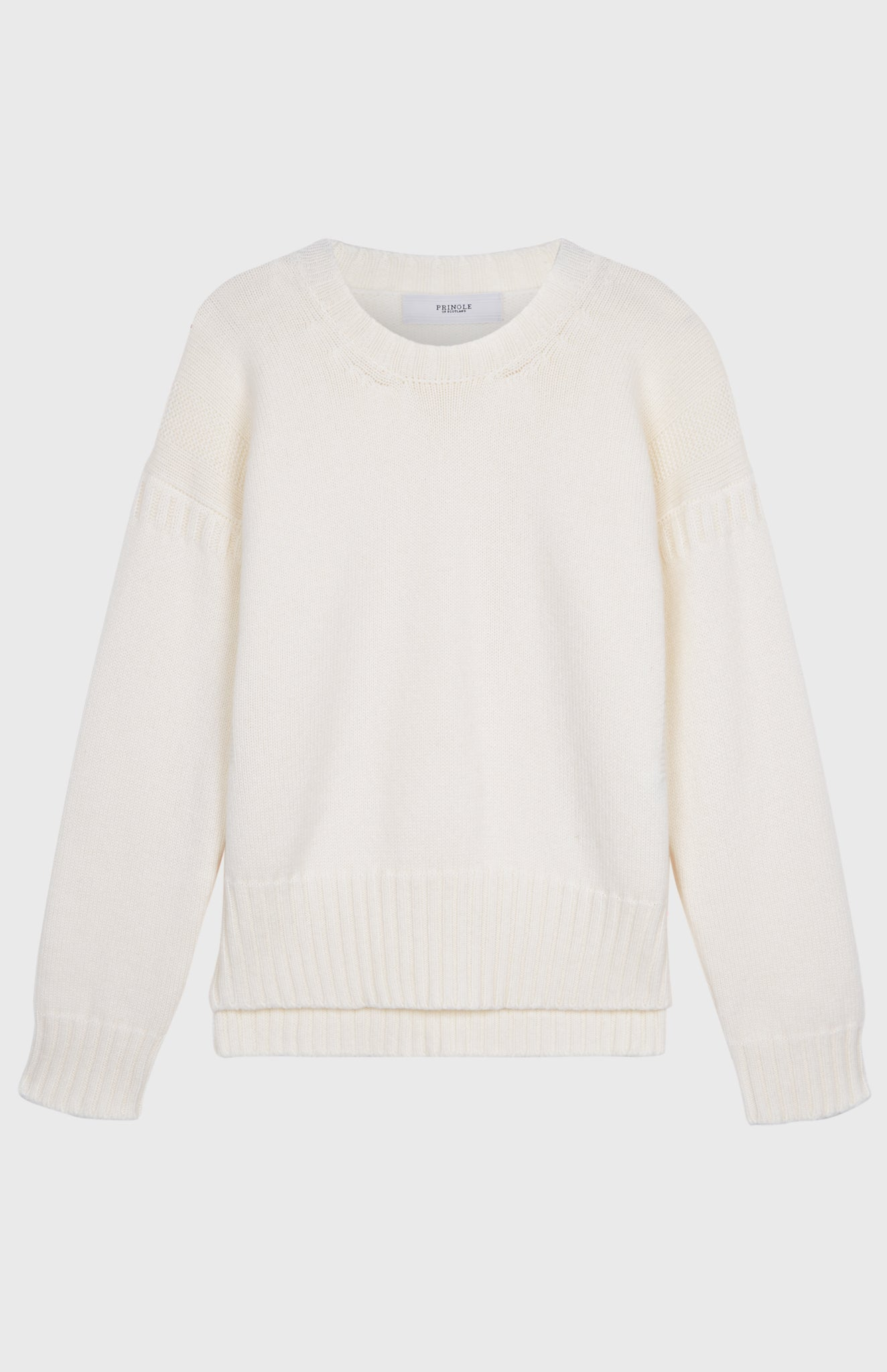 Guernsey Stitch Round Neck Jumper In Off White