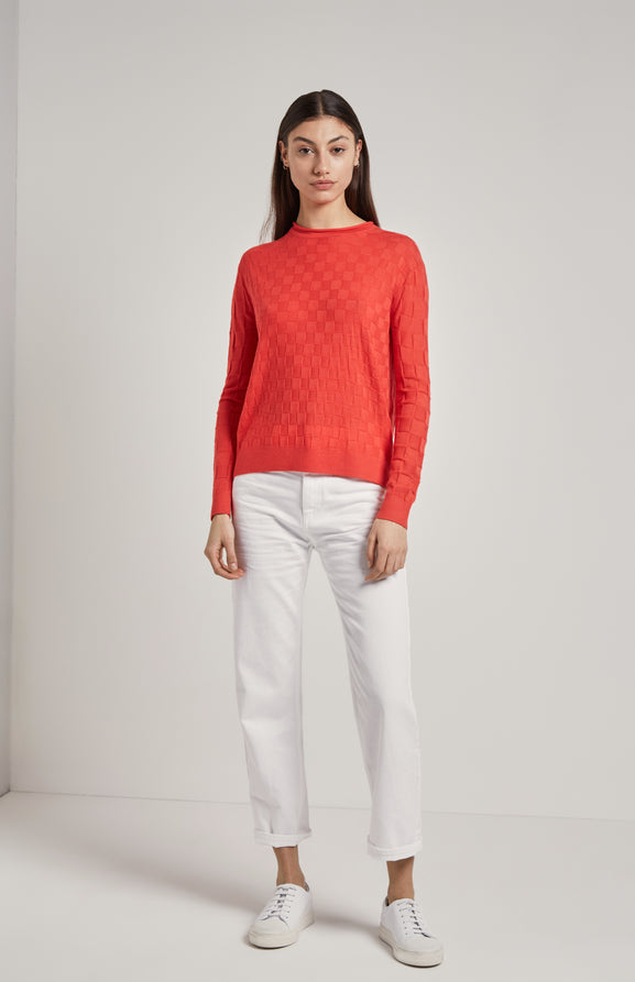 Knitted 3d Check Jumper In Coral