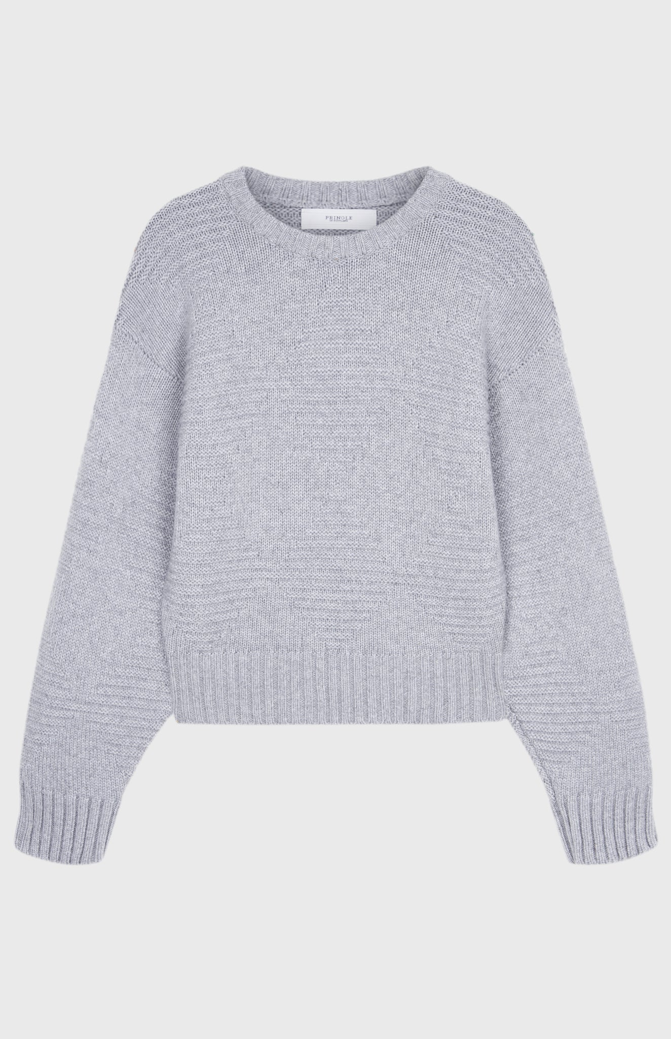 Cosy Cashmere Diamond Jumper In Light Grey Melange
